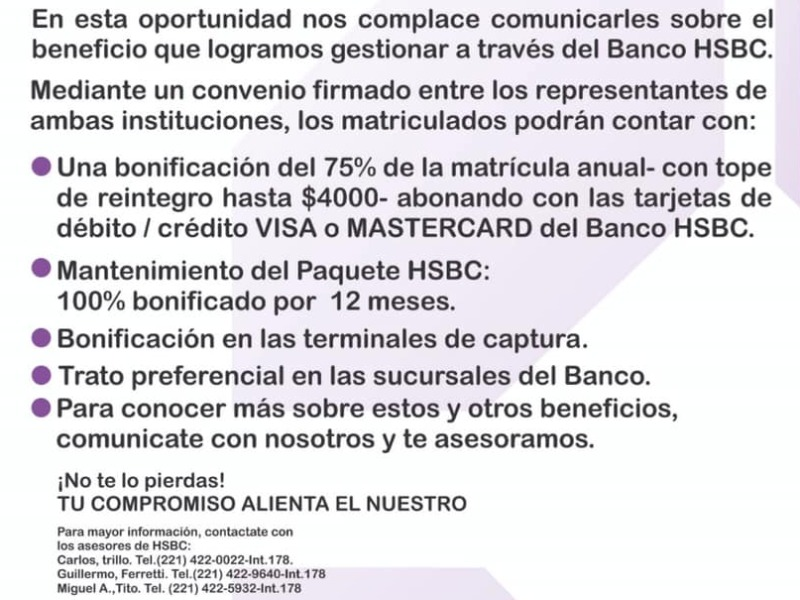 Importantes beneficios para Matriculados: Banco HSBC